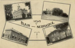 A neat little postcard presenting scenes from Blair from other postcards. No date given. Postcard unused.