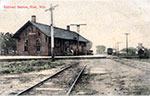 Colored postcard of the original Blair Depot, now located in Lions Park. Postmarked 1909.